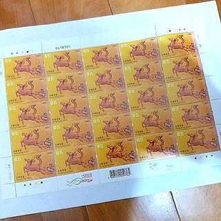 ($5面值 一張共25個)  全新 歲次甲午 馬年 郵票