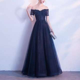 Evening Gown dinner gown navy blue off shoulder sexy