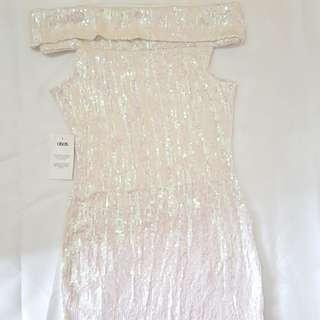 ASOS White Sequin Off-Shoulder Dress