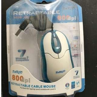 全新伸縮式有線鼠標 retractable cable mouse