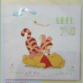 New last set of  baby winnie pooh & tigger playing Cross Stitch design Kit