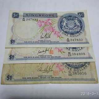Singapore Old $1 Orchid Note With No seal