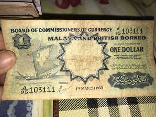 One Dollar Malaya British Borneo 1959