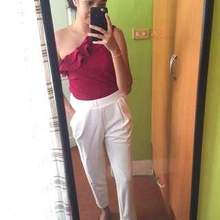 FLASH SALE -- White Cigarette Trousers