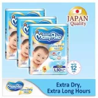 3 x MamyPoko Extra Dry Skin Tape L50