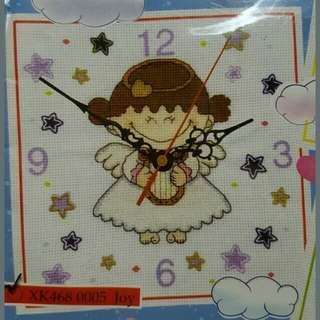 New last set Cross Stitch angel cherub with harp diy Clock design Kit