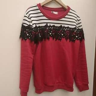 🚚 全新正韓蕾絲設計刷毛上衣