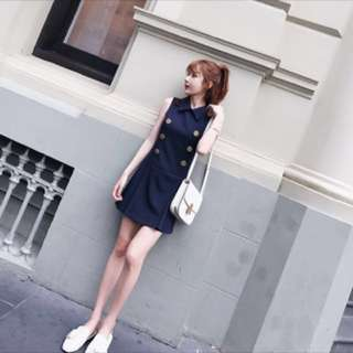 Ulzzang Buttoned Blue Collared Sleeveless Dress; Korean kpop jpop trendy; student look young youthful; casual; woman women female lady ladies girl