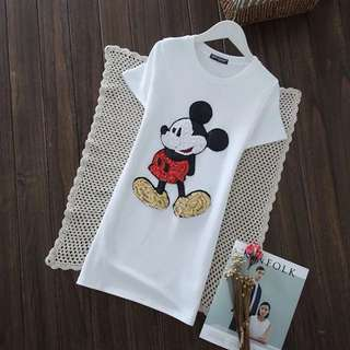 PO-Mickey Mouse long shirt - white