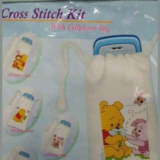 NEW Disney Baby Winnie Pooh piglet Cross Stitch Design phone pouch coin bag Kit