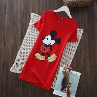 PO-Mickey Mouse long shirt - red