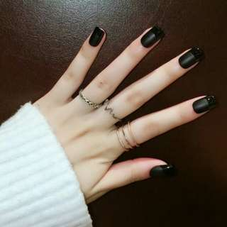24 pcs matte with glossy french tips fake nail tips