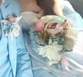 Pastel flower bouquet bridal wedding faux