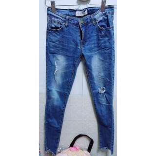 韓版淺藍刷色牛仔褲s