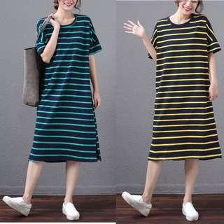 Plus Size Short-sleeved t-shirt female long cotton loose dress