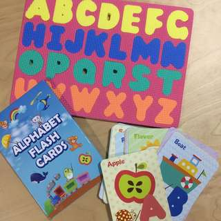 flash card and alphabet foam block