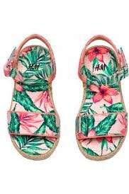 H&M girl's floral printed sandals sz 33