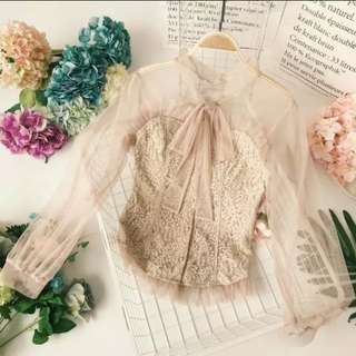 Nude long sleeve lace top