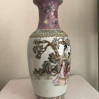A Famille rose Porcelain Figural Vase