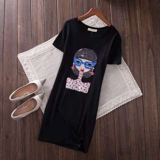 PO-Sunglasses girl long shirt - black