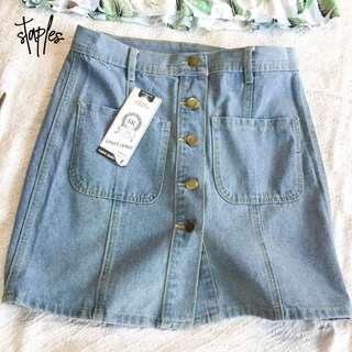 Button Denim Skirt (Code-Leila)