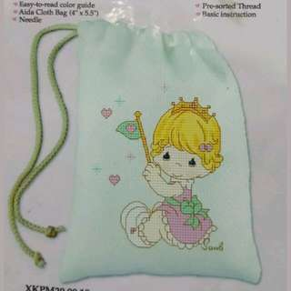 New Precious Moment little princess Cross Stitch coin makeup pouch bag design
