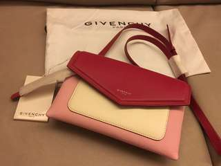 Givenchy Tricolored Duetto Leather Crossbody Bag (Pink/ White)
