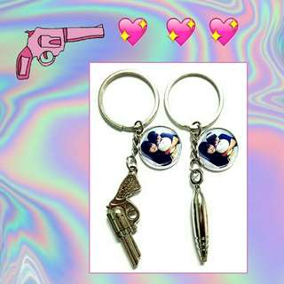 Customized Couple Gun and Bullet Keychains