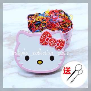 Hair Accesories Colored Rubber Bands Hello Kitty Box