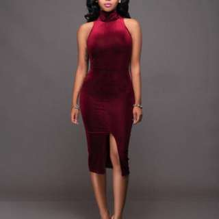 Bodycon Turtleneck Velvet Dress