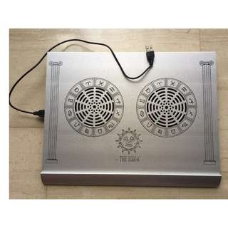 Stylish Laptop Notebook Cooler Metallic Base Pad 2 Cooling Fans Extra USB Port