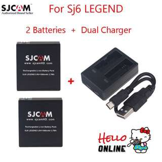 Original SJCAM SJ6 Battery 1000mAh Rechargable Batteries/ Dual Charger