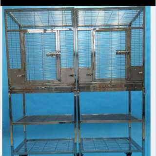 The BEST quality bird cage on stand - 304 Stainless steel bird cage on roller with storage rack