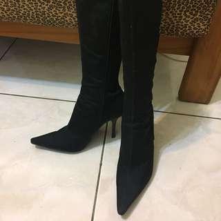 AS 黑色尖頭緞帶長靴