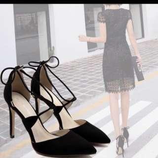 Black suede high heels 10.5cm