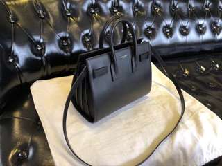 YSL NANO SAC DE JOUR SOUPLE BAG IN FOG GRAINED LEATHER