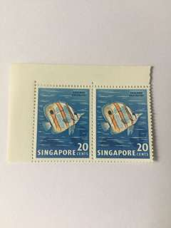Singapore 1962 Fishes definitves mnh 20cts in pair