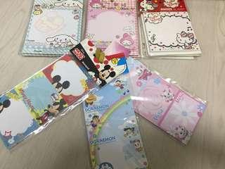 Disney Sanrio notepads