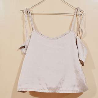 Lustrous rose gold off shoulder top with straps