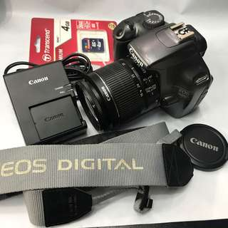 Canon eos 1100d with 18-55mm and accessories (12mp with video capability)