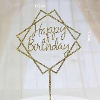 Acrylic Gold Black Cake Topper - Happy Birthday