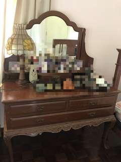 Solid teak wood Vintage / Antique Dressing Table.