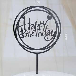 Acrylic Black Cake Topper - Happy Birthday