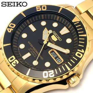 BNIB 100% Authentic Seiko Diver Gold Bracelet Watch SNZF22J1 MADE IN JAPAN 200m Diver SNZF22 FREE DELIVERY