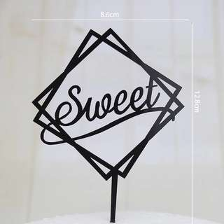 Acrylic Black Cake Topper - Sweet