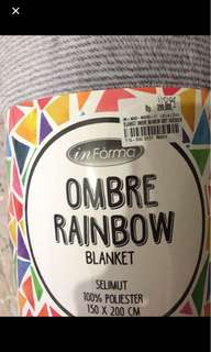 Ombre Rainbow Blanket + Sarung Bantal 3pcs