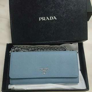 Prada light blue WOC (100% real/ 90%new )