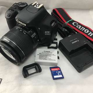 Canon eos 550d 18mp fullhd with 18-55mm lens and accessories (9k clicks only)