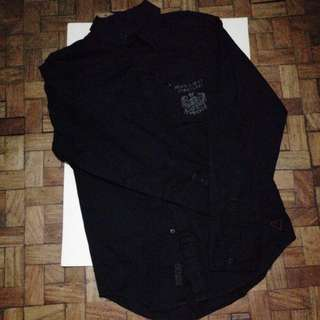 Guess black long sleeved polo