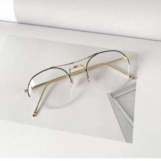 Gold Half-Framed Korean Glasses